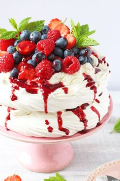 This quick and easy berry pavlova is the perfect summer dessert and can be whipped up in just a few minutes!   My Fussy Eater blog