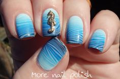 31DC2014: Blue - Gradient with watermarble ~ More Nail Polish
