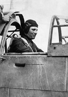 . Field Marshal Erwin Rommel, commander of the German Afrika Korps, seated in the cockpit of an airplane, preparing for take-off. Photographed October 1942. Pin by Paolo Marzioli