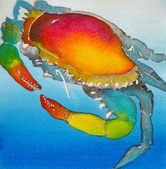 """Crabbie watercolor 7.5"""" x 7.5"""" 2014 Bubbles"""