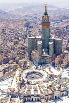Great view of the Holy Mosque in Mecca, Saudi Arabia