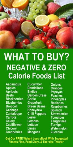 Negative & Zero Calorie Foods List. Learn about Zija's Moringa based product line. Get our FREE weight loss eBook with suggested fitness plan, food diary, and exercise tracker. Detox your body, increase energy, and burn fat more efficiently. LEARN MORE #N