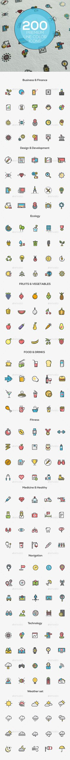 Set of modern Color Line Icons — JPG Image #software #icon • Available here → https://graphicriver.net/item/set-of-modern-color-line-icons/12717835?ref=pxcr