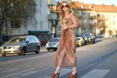 Pleated, silky maxi skirt <3