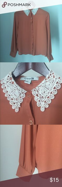 Forever 21 Bottom Down Shirt Orange Shirt with beautiful neck Forever 21 Tops Button Down Shirts