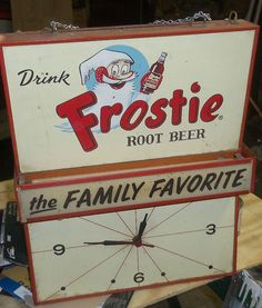 "Frostie Root Beer Vintage Clock  (1940 Antique Soda Pop Advertising Clocks, ""The Family Favorite"")"