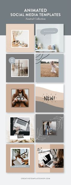 Our neutral collection of Animated Social Media Templates for Canva are perfect for marketing your online business. They come in 10 square and 10 Stories layouts. Feeds Instagram, Instagram Grid, Instagram Design, Social Media Template, Social Media Design, Social Media Graphics, Banner Design, Layout Design, Best Banner