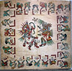 Page 20 Codex Borbonicus. p.2/2 of the 52-year count in four sets of thirteen. Tezcatlipoca and Quetzalcoatl in the form of Ehecatl, the wind god. -Taylor Bolinger