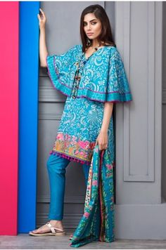 Khaadi Summer Lawn Volume 1 2017 Price in Pakistan famous brand online shopping, luxury embroidered suit now in buy online & shipping wide nation. Whatsapp: 00923452355358 Website: www. Stylish Dresses For Girls, Simple Dresses, Casual Dresses, Salwar Designs, Kurti Designs Party Wear, Pakistani Fashion Casual, Indian Fashion, Frock Fashion, Fashion Outfits