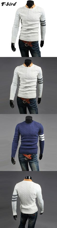 T-Bird Clothing Men 2017 Fashion Sweater Simple Spell Color Twist O-Neck Slim Fit Casual Pullover Men Sweaters Knitting Mens XXL