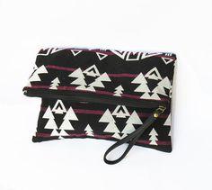 Black & White FOLDOVER #CLUTCH BAG  # CHRISTMAS woven fabric by iThinkFashion