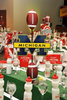 Banquet idea or signing day! Could do your child's team, favorite team, or school team. Would work great for sports banquet too. Football Centerpieces, Bar Mitzvah Centerpieces, Banquet Centerpieces, Banquet Decorations, Banquet Ideas, Graduation Decorations, Graduation Ideas, Tailgate Decorations, Centerpiece Ideas