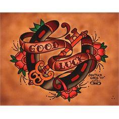 horseshoe tattoo drawings | Good Luck Horseshoe by Brother Greg Tattoo Art Canvas Print