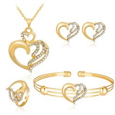 Heart Shape Gold Color Earrings and Pendant Necklace Jewelry Set Wedding/Party