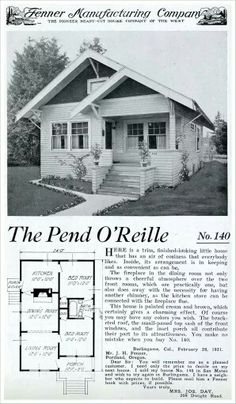 1921 - Fenner Manufacturing - The Pend O'Reille kit home by the Fenner Manufacturing Company was a modest, compact bungalow with just enough space to accommodate a small family. It's most unusual feature is the fire place which is placed in the dining room instead of the living room. It was an economical measure to save on having to create two chimneys that would otherwise have been needed for the fireplace and kitchen stove.