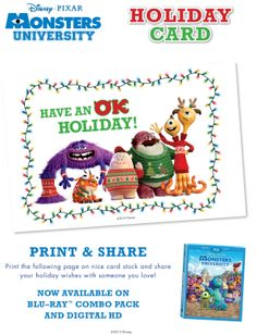 Get a little help with your holiday cards thanks to #MonstersUniversity and Oozma Kappa.