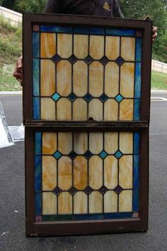 stained glass double hungwindows | Nice Double Hung Stained Glass Window in wood frame +