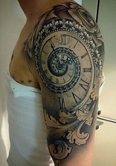 Spiral time clock shoulder Tattoo ....