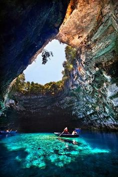 Aahhhhhhh.  Relaxing.  Melissani Cave in Kefalonia   Stunning Places #StunningPlaces