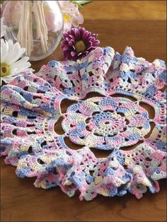 Crochet Doilies - Floral Doily Crochet Patterns - Carnival Crochet Doily -- Free Beginner Pattern