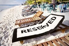 Reserved beach towel. For more great ideas and information about our waterfront venue visit our website www.tidewaterwedding.com or give us a call 443 786 7220    For more information about our luxurious rental villas in Puerto Vallarta, Mexico visit our website www.villavacationspv.com or give us a call 443 786 7220