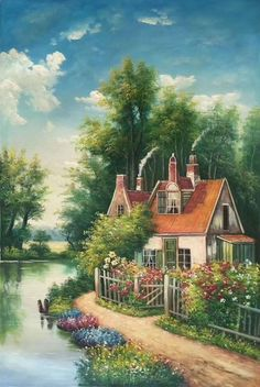 """ID = Size: 60 x 90 cm """"x inches); handmade oil painting, Decoration, M Beautiful Paintings, Beautiful Landscapes, Landscape Art, Landscape Paintings, Kinkade Paintings, Scenery Paintings, Cottage Art, Mural Art, House Painting"""
