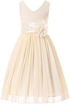 Amazon.com: Bow Dream Flower Girl Dress bridesmaid V-Neckline Chiffon Cream Ivory 2: Clothing