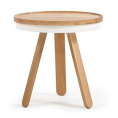Přírodno-bílý odkládací stolek z dubového dřeva s podnosem Woodendot Batea S Cofee Tables, Stool, Furniture, Home Decor, Decoration Home, Room Decor, Home Furnishings, Home Interior Design, Home Decoration