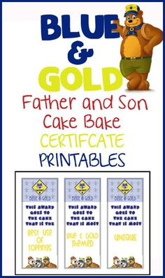 Blue & Gold Cake Bake Certificates and Sign-In Sheet FREE Printables!
