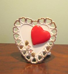 Vintage Relpo Samson 1959 Valentine Heart Vase Planter