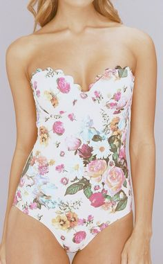 Floral swimsuit - need straps.