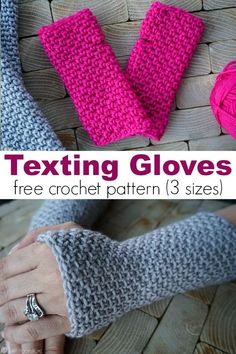 In the market for some new texting gloves? If you can crochet the single crochet you can make the gloves! Three sizes include child, adult small, and large. via gratis fingerlose Handschuhe Texting Gloves Crochet Pattern (child, adult small, large) Crochet Hand Warmers, Crochet Mitts, Fingerless Gloves Crochet Pattern, Crochet Diy, Crochet Crafts, Crochet Stitches, Crochet Projects, Crochet Patterns, Fingerless Crochet Gloves