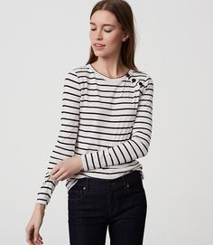 Image of Striped Shoulder Button Tee