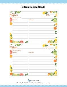 The cards are editable and can be filled out using Adobe Reader. To Do Lists Printable, Free Printable Art, Printable Recipe Cards, Free Printables, Recipe Book Templates, Planning Budget, Menu Planning, Recipe Organization, Organization Skills
