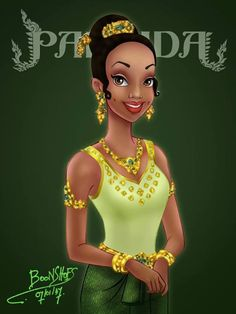 Disney Princess,Princess Tiana In Thai traditional dress by Thai Artist named BoonShoes