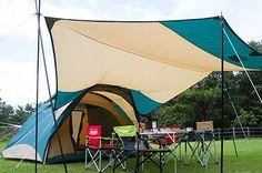 テントにつながるヘキサタープ