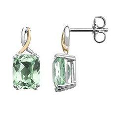 Green Quartz Sterling Silver Rectangle Drop Earrings