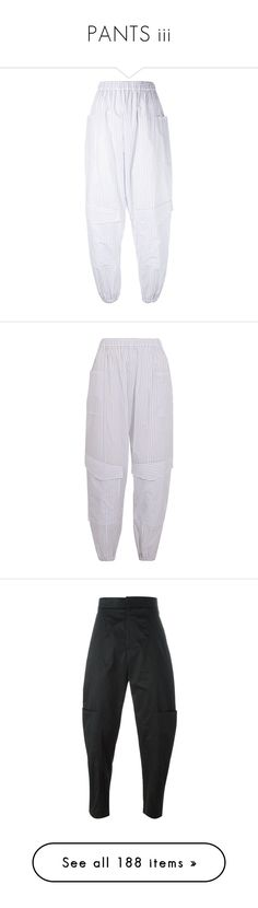"""""""PANTS iii"""" by greigle ❤ liked on Polyvore featuring pants, white, striped trousers, stripe pants, chalayan, cotton pants, white trousers, petite white pants, loose pants and white striped pants"""