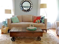 Blue Living Room With Reclaimed Wood Rolling Coffee Table
