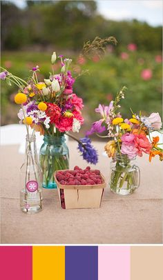 If you like pops of color this color palette is for you!. Source: wedding chicks #centerpiece #raspberrypink
