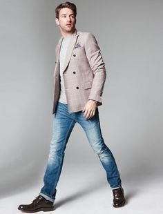 lazer ($598) by Tommy Hilfiger. Pocket square ($55) by Alexander Olch. Sweater ($48) by Topman. Jeans ($195) by Diesel. Shoes ($760) by Church's.