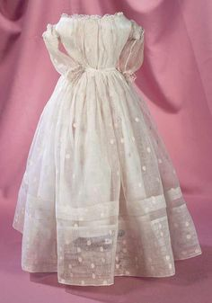 theriault's antique doll dress | ... Theriault's Antique Doll Auctions - early muslin dress with