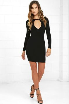Lulus Exclusive! Turn up the music because the Here to Party Black Long Sleeve Bodycon Dress has arrived and is ready for a good time! A backless silhouette adds appeal to this lightweight jersey knit dress with long sleeves, a front keyhole cutout, and a figure-flaunting fit.