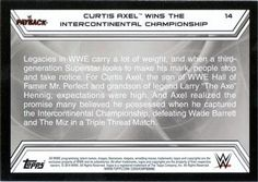 2014 Topps WWE Road to Wrestlemania #14 Curtis Axel Back