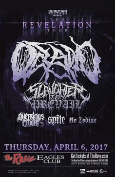 The Revelation Tour OCEANO  with Slaughter To Prevail, Aversions Crown, Spite, No Zodiac  Thursday, April 6, 2017 at 7pm  The Rave/Eagles Club - Milwaukee WI  All Ages to enter / 21+ to drink