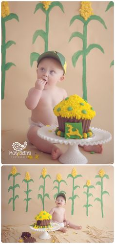 Samuel's John Deere 1st Birthday and Cake Smash Portraits for Mary Beth's Photography in Augusta, GA | Augusta GA Newborn Photographer, Augusta GA Family Photography #1stbirthday #cakesmash #customphotographysets #augustaga #johndeere