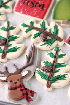 Thanksgiving Cookies, Christmas Sugar Cookies, Christmas Sweets, Holiday Cookies, Christmas Baking, Holiday Baking, Plaid Christmas, Reindeer Cookies, Royal Christmas