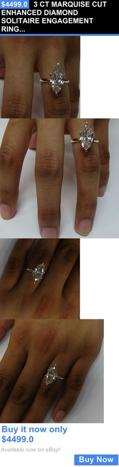 jewelry: 3 Ct Marquise Cut Enhanced Diamond Solitaire Engagement Ring In 14K Yellow Gold BUY IT NOW ONLY: $4499.0