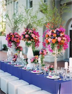 Fairytale Wedding Inspiration: Can we talk about these insane floral arrangements from The Flower Factory? (Photo by Ryan + Beth Photographers via Wedding Chicks) Wedding Reception Centerpieces, Wedding Flower Arrangements, Flower Bouquet Wedding, Floral Arrangements, Wedding Decorations, Flower Bouquets, Reception Ideas, Bridal Bouquets, Wedding Favors