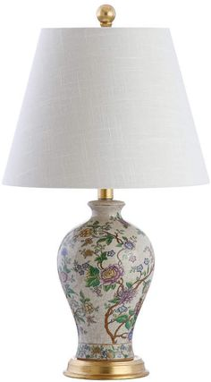 Jonathan Y Grace Floral Led Table Lamp Multi Ceramic Table Lamps, Ceramic Decor, Ginger Jar Lamp, Traditional Decor, Drum Shade, Lamp Bases, Modern Contemporary, Bulb, Porcelain Tiles